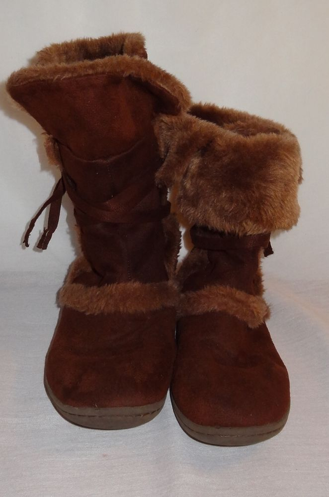 South Pole Brown Size 8 1/2 W. Brown Faux Fur Boots Women's Pull On Mid-Calf #SouthPole #MidCalfBoots #WeartoWork