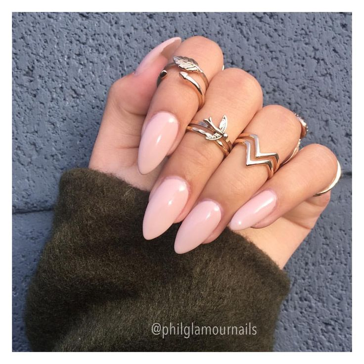 Love these light pink almond acrylic nails