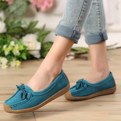 Solid Genuine Leather Slip-On Closure Closed Round Toe Ballet Flat Shoes - 4 Colors
