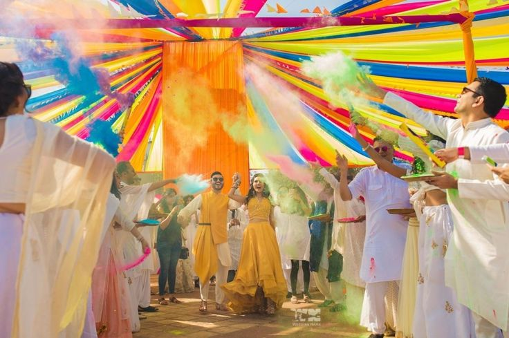 They kicked off the festivities with a Holi-themed cocktail party. | This Style Blogger Shared Her Entire Wedding Live On Instagram And It's Quite Magical