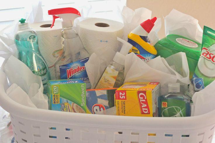 Moving/Housewarming Gift: waxed paper. aluminum foil, zip-loc bags, paper towels, saran wrap, garbage bags, napkins etc.