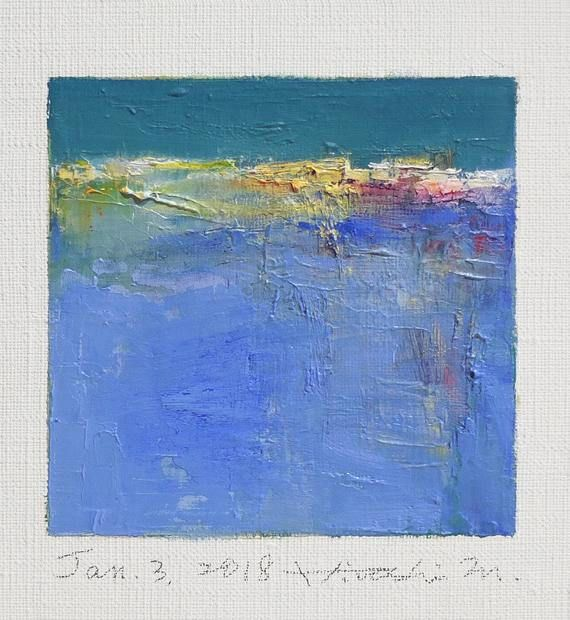 Jan. 3 2018 Original Abstract Oil Painting 9x9 painting