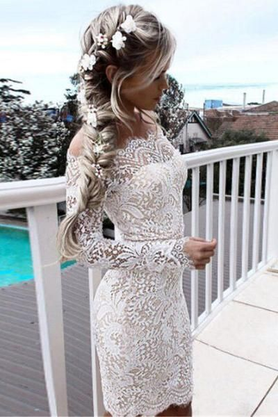 Off Shoulder Long Sleeves Short Bodycon Lace Dress $24.99