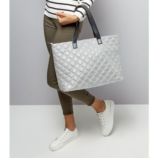 New Look Silver Quilted Tote Bag (£16) ❤ liked on Polyvore featuring bags, handbags, tote bags, silver, quilted purses, tote hand bags, handbags totes, tote handbags and new look handbags