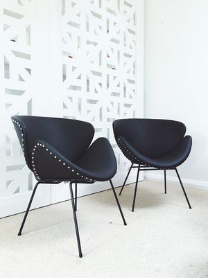 Retro Lip Chairs. Black matte vinyl. Chrome studs. | Furniture Upholstery in Taranaki, New Plymouth | Red Couch