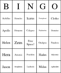 Greek Mythology Bingo Card