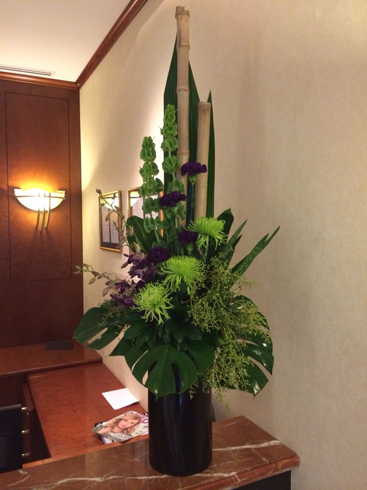 Purple and green corporate flowers.