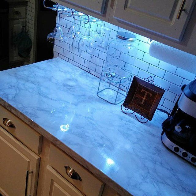 Update Countertop Self Adhesive White Marble Granite Film Not