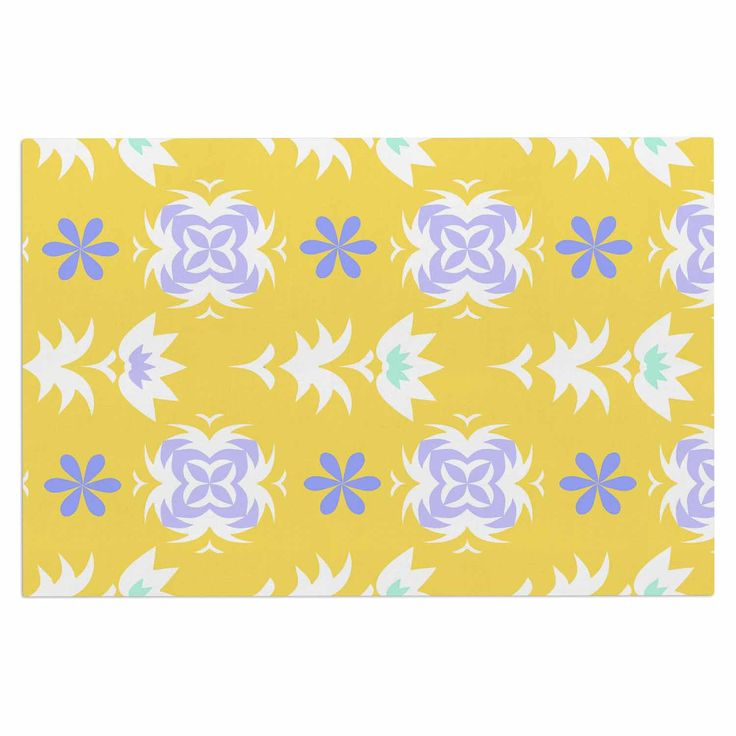 "Alison Coxon ""Edwardian Tile Yellow"" Yellow White Decorative Door Mat"