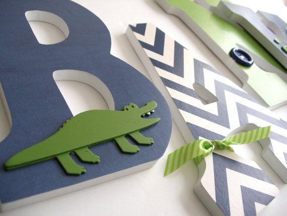 Navy Blue & Green Custom Wooden Letters Personalized by LetterLuxe