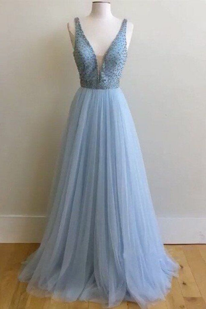 Beaded prom dress, ball gown, cute blue tulle long prom dress with straps