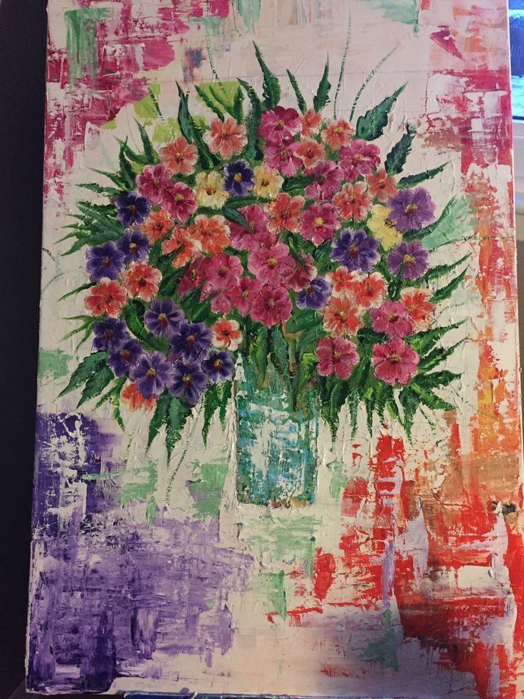 Flower painting in a snowy day.