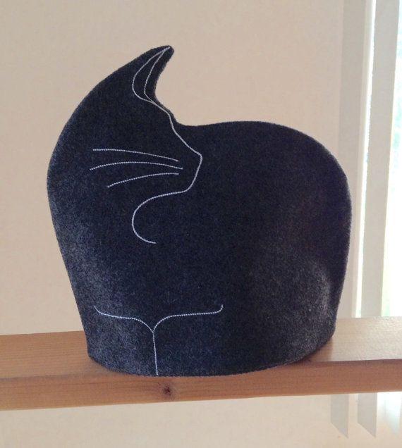 Dark Gray Cat Tea Cozy by Cherylann on Etsy