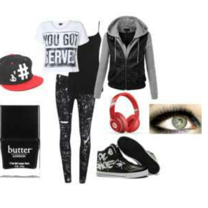 Skater girl outfit. Red and black so cute ! - 9 Best Girl Skater Outfits Images On Pinterest
