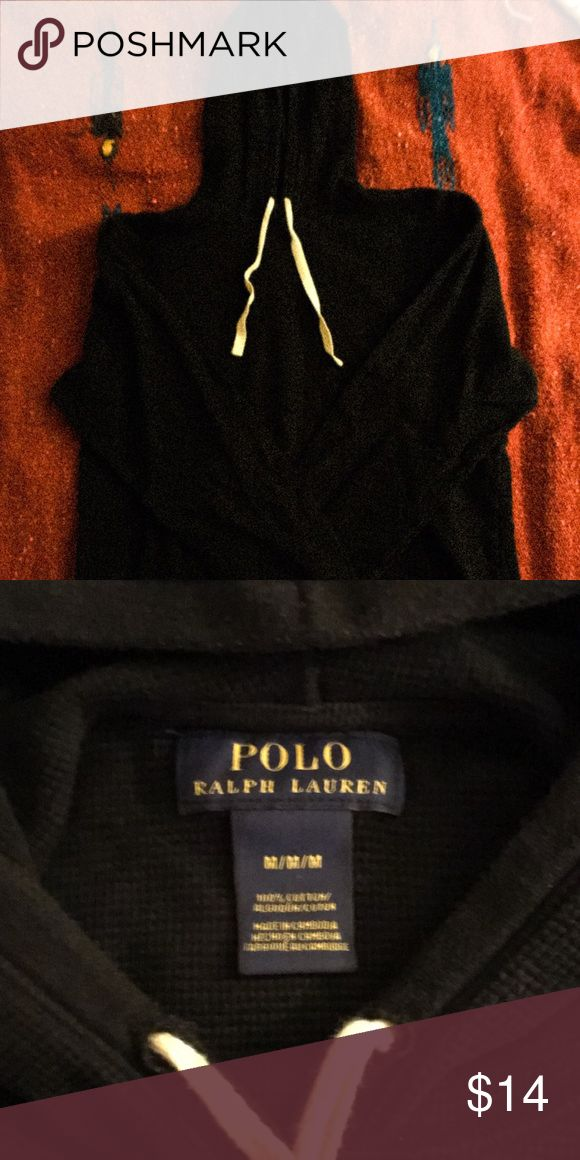 Men's long sleeve Polo shirt. Men's medium black long sleeve Polo by Ralph Lauren.  Lightly used.  Great for those slightly chilly days where's it's too warm for jacket and too chilly for just a tee shirt.  Also has a hood. Polo by Ralph Lauren Shirts Sweatshirts & Hoodies