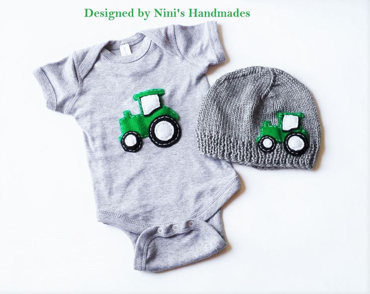 I have knitted the Beanie in Heather Grey and embellished it with a green felt tractor inspired applique, the same design is on the a Grey Bodysuit as well. This Set was designed in an smoke free envi