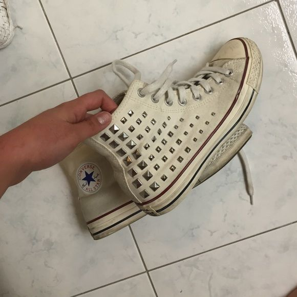 Beige studded converse. They were never white. Good condition. No studs missing. Beige not white. Converse Shoes Sneakers