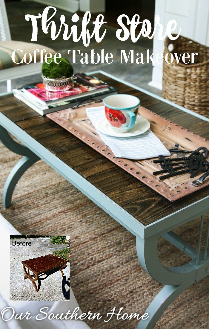 Thrift store coffee table makeover by Our Southern Home #generalfinishesmilkpaint
