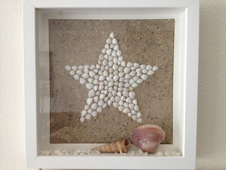 Stern Muschelbild maritim - kann man auch leicht mit weißen Bohnen machen :-)