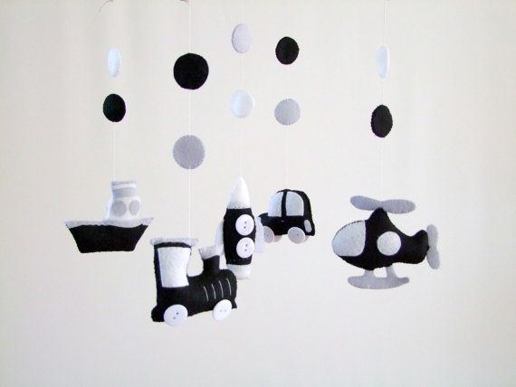Monochrome baby mobile Black and white baby mobile от FeltButtons