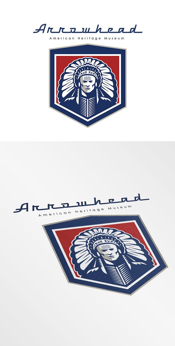 Arrowhead American Heritage Museum Logo. Logo showing illustration of a native american indian chief viewed from front set inside shield crest shape done in retro style on isolated white