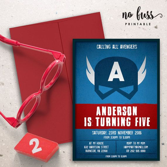 Captain America Birthday Party Invitation 5x7 by NoFussPrintable