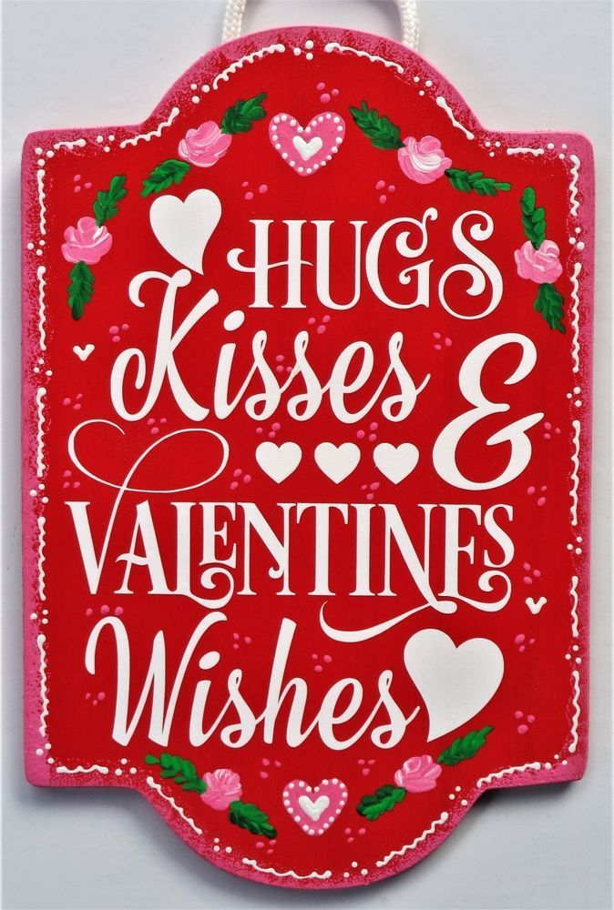 HUGS KISSES & VALENTINES WISHES Sign Wall Art Door Hanger Plaque Valentine's Day #DesignedHandcraftedbyMillerFamilyWoodcrafts