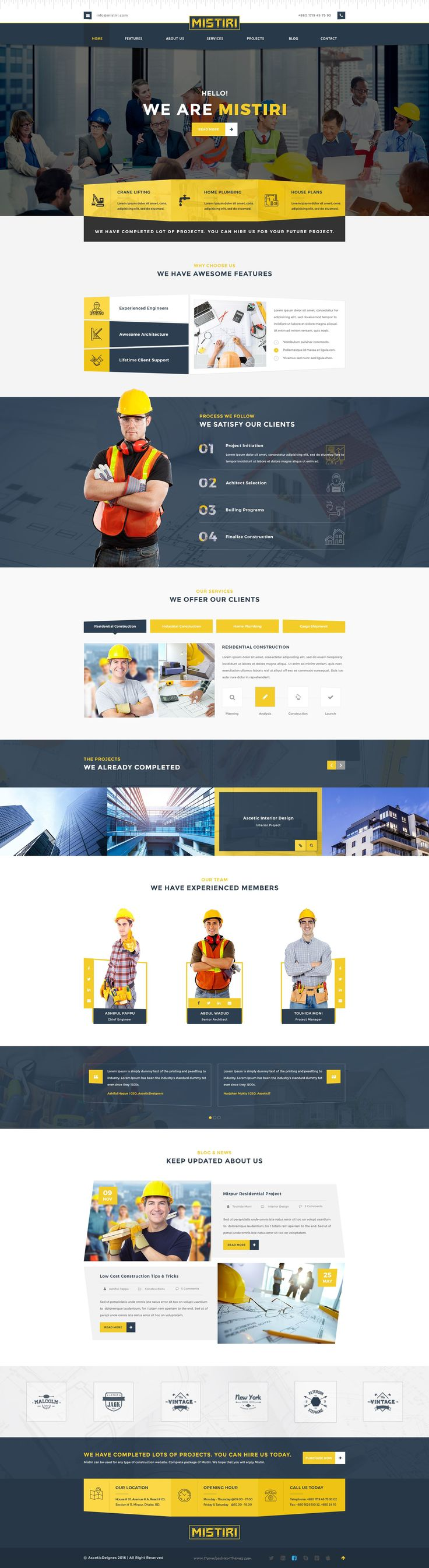 Mistiri – Construction PSD Template is a uniquely designed Template with a flat & modern look specially for the #construction business. #psdtemplate