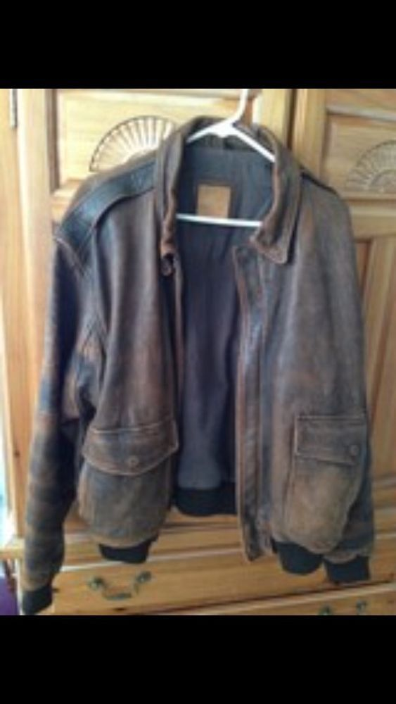 Leather Bomber Flight Jacket, Distressed Look brown leather Size XL by Crew #Crew #FlightBomber