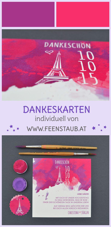 Beerentöne in Pink und Violett geben bei dieser Papeterie den Ton an und unterstreichen das Thema Paris perfekt. Die Dankeskarten nach der Hochzeit schließen die individuelle Papeterie ab.