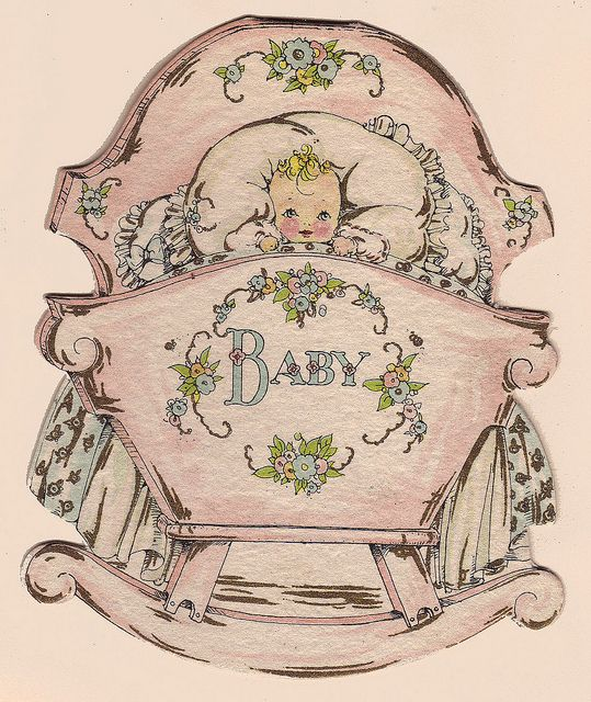 Cradle shaped baby card by katinthecupboard, via Flickr