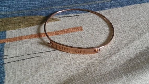 Bracelet with phrase: Carpe Diem by Zampithings on Etsy