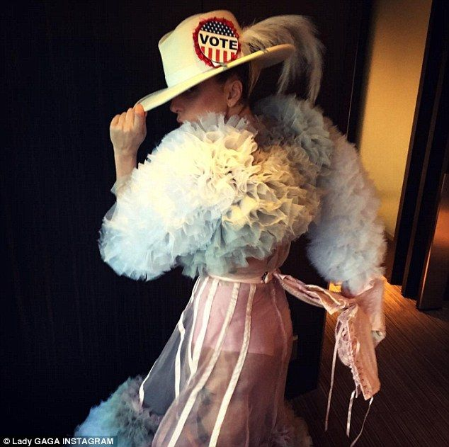 'Corsets off':Last week Gaga posted an Instagram photo in support of voting for the presi...