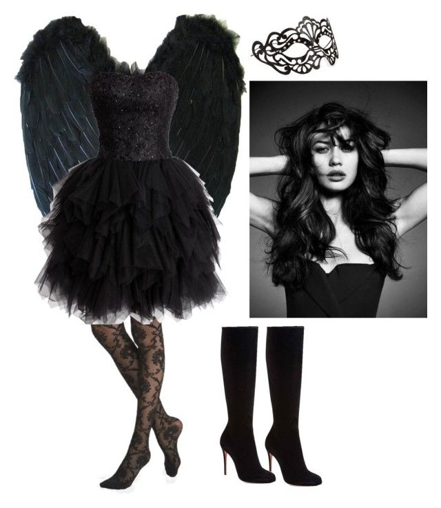 """Dark Angel Costume"" by gabrielaopal ❤ liked on Polyvore featuring Accessorize, Express and Christian Louboutin"