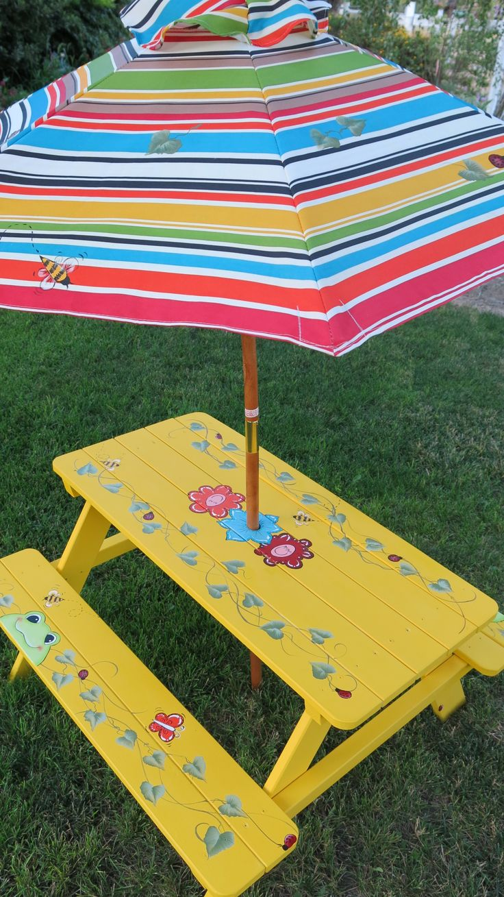 Childs picnic table painted by Janet Swanson!