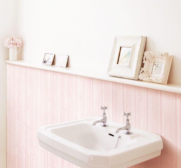 Tapete selbstklebend Holzdekor hell rosé Küche Bad Wandtapete Deko50x70cm