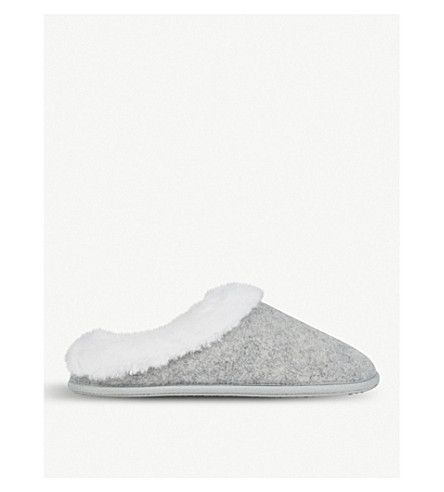 THE WHITE COMPANY | Felt faux-fur slippers #Shoes #Flats #Slippers #THE WHITE COMPANY