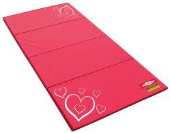 home gymnastics mat. loving the pink hearts