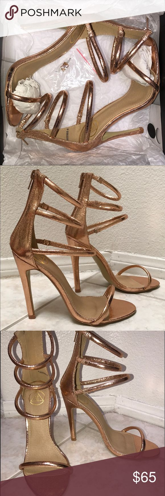 Missguided Rose Gold Giuseppe Heels Sandals 6 6.5 BRAND NEW - SHIPPED WITH BOX!                       These strappy sandals are so sexy & comfortable! AND they look just like Giuseppe Zanotti - Harmony (sold out everywhere!) 3 straps with a zip up back.  These go with everything! These run a bit bigger, in my opinion, depending on how you like your shoes to fit.  I usually wear 6.5/ 7 depending on shoe brand/style. PLEASE NOTE: I am NOT selling Giuseppe Zanotti's. I am only showing those…