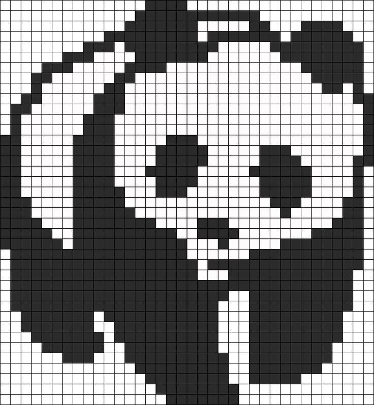 Panda perler bead pattern: