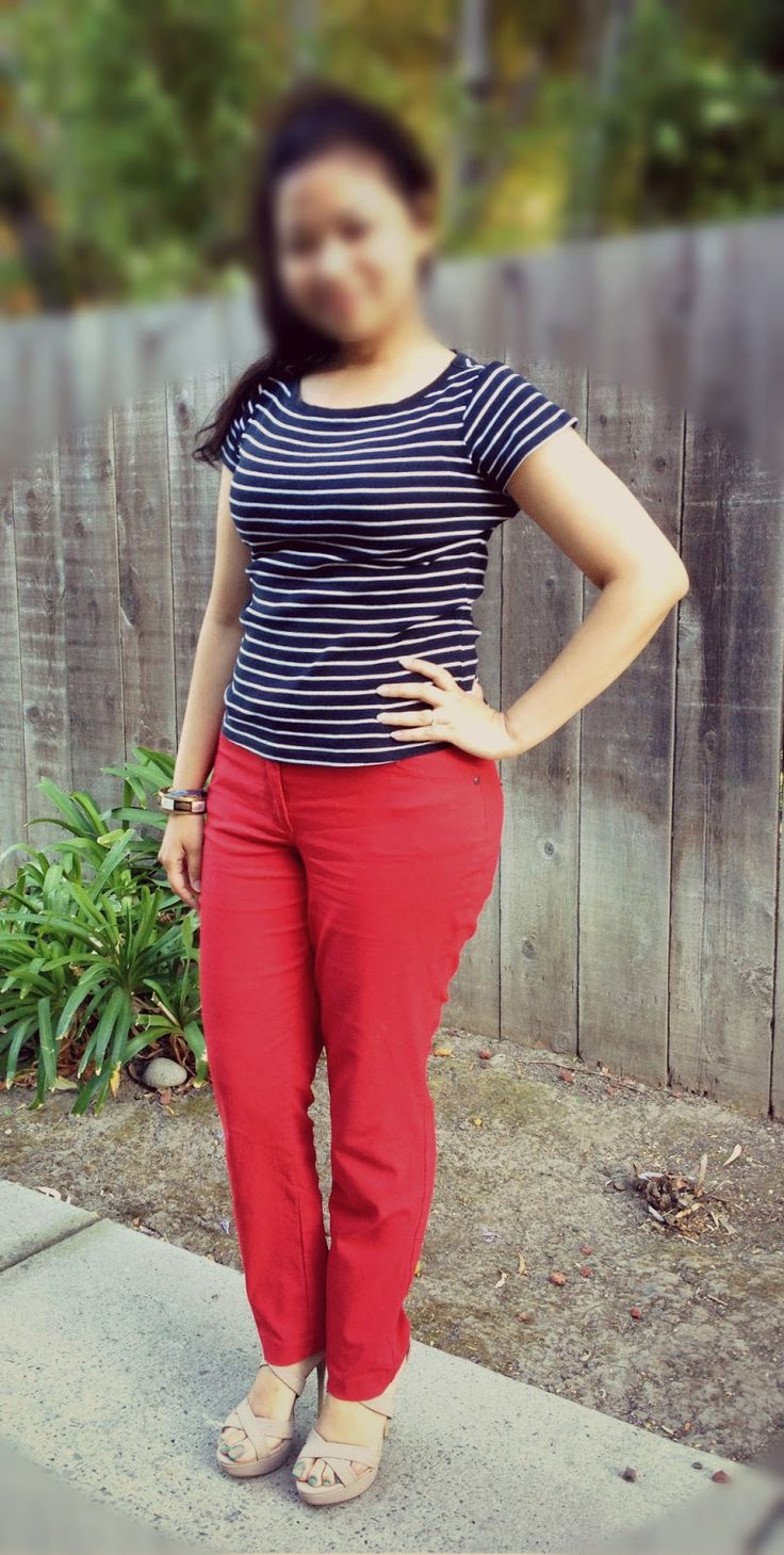 Nautical top, red pants and strappy heels