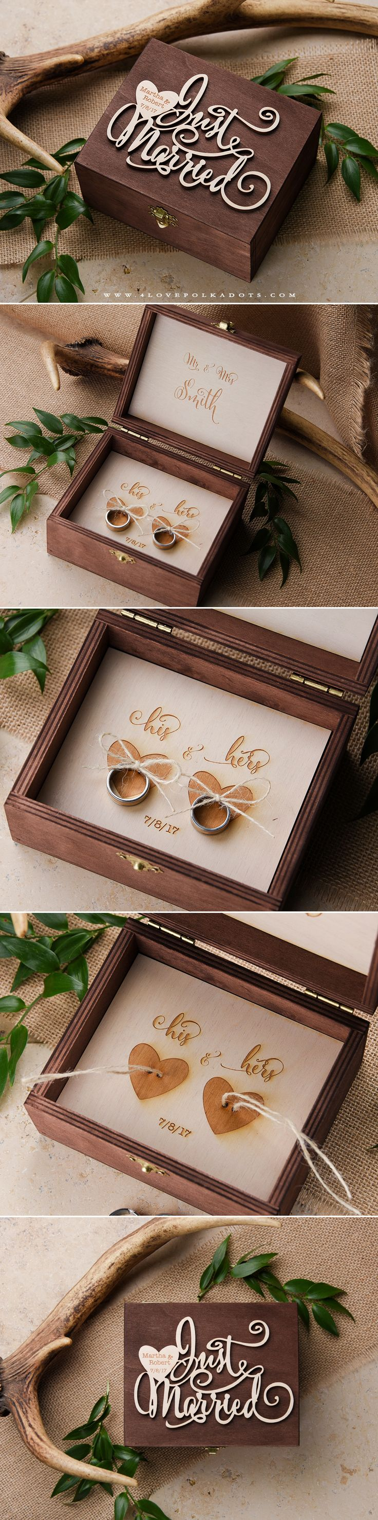 Just Married <3 Wedding Wooden Ring Bearer Box #realwood #ringbox #rustic…