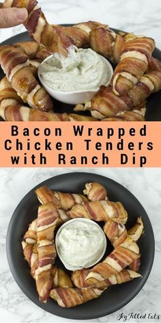 Bacon Wrapped Chicken Tenders with Ranch Dip - Low Carb, Grain Free, THM S via @joyfilledeats