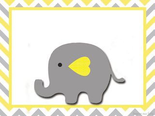 Baby Elephant in Grey and Yellow Chevron: Free Printable Invitations  and Free Printable Candy Bar Labels.