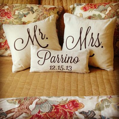 Mr and Mrs Pillow Cases from Etsy.  Great wedding gift idea!