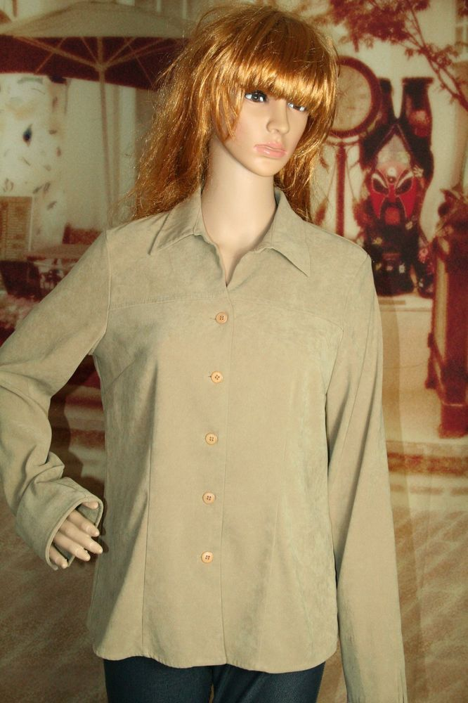 Womens Notations Blouse Faux Suede Long Sleeve Button Front Size S