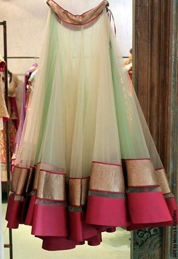 fashion, lehenga, beautiful, mint green, golden pink border, simple, elegant