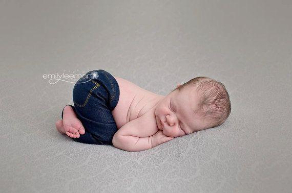 Newborn Stretch Denim Jeans  Dark Blue  by JazzCraftBoutique