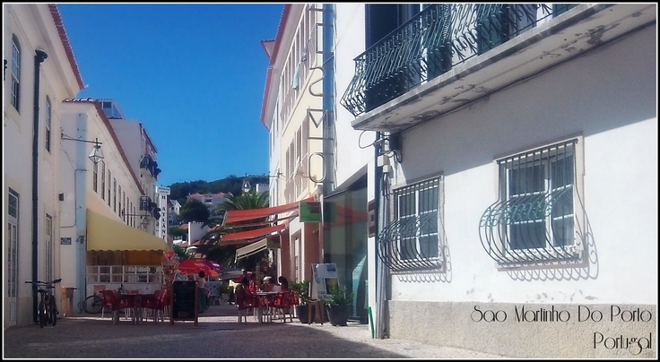 The morning coffee and email spot in Sao Martinho do Porto, Portugal