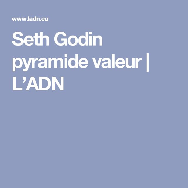 Seth Godin pyramide valeur | L'ADN